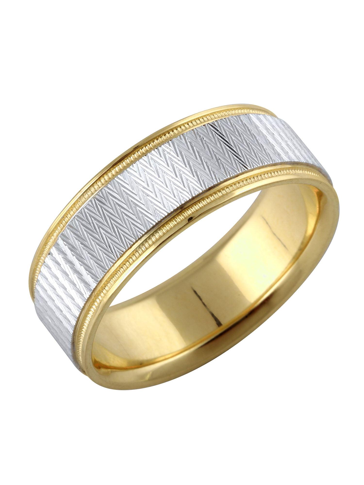 14K Yellow + White Gold Textured Metal Solid Men's Ring