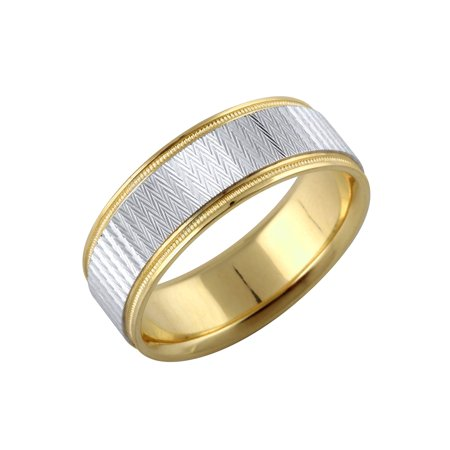 14K Yellow + White Gold Textured Metal Solid Men's Ring