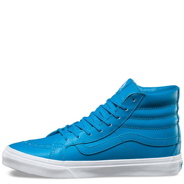 Vans SK8 Hi Slim Neon Leather Neon Blue Women's Skate Shoes Size 10.5