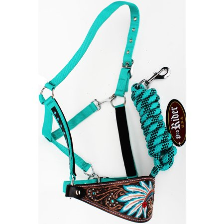 Quality Horse Halter (Horse Noseband Tack Bronc Leather HALTER Tiedown Lead Rope  280M80224)