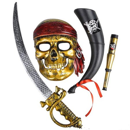 Rinco Brave Pirate Explorer 4pc Costume Accessory Set, One Size