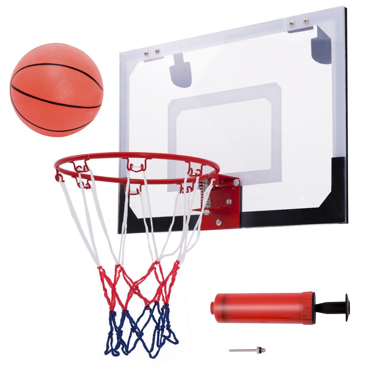 Gymax Over-The-Door Mini Basketball Hoop Includes Basketball & Hand Pump Indoor Sports