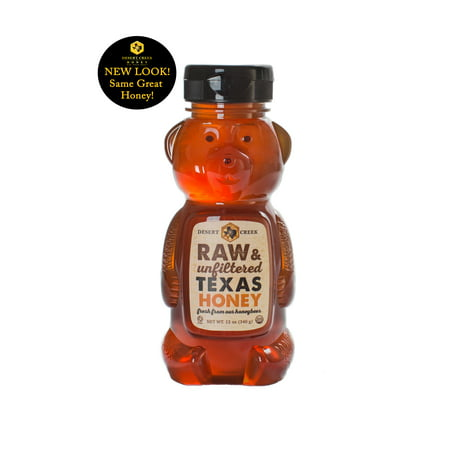 Pack of Two 12 oz. Honey Bears Raw, Unfiltered, Unpasteurized Texas Honey by Desert Creek Honey Non-GMO, Kosher Honey Bear Sweet