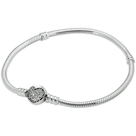 Pandora Moments Silver Bracelet with Sparkling Heart Clasp 590743CZ21 ()