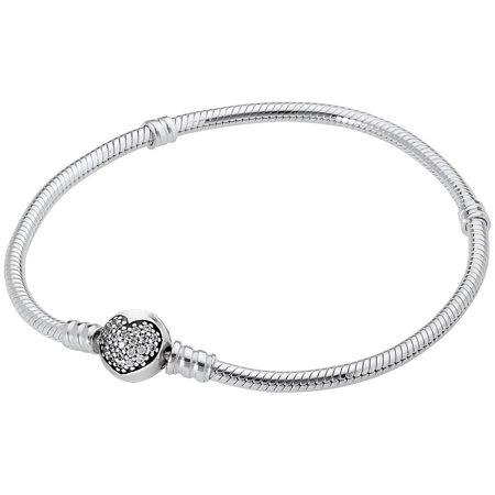 Pandora Moments Silver Bracelet with Sparkling Heart Clasp 590743CZ21 ()