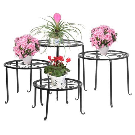 Dazone Metal 4 in 1 Potted Plant Stand Floor Flower Pot Rack/Round Iron Plant Stands, Scroll Pattern (Pattern Pot)