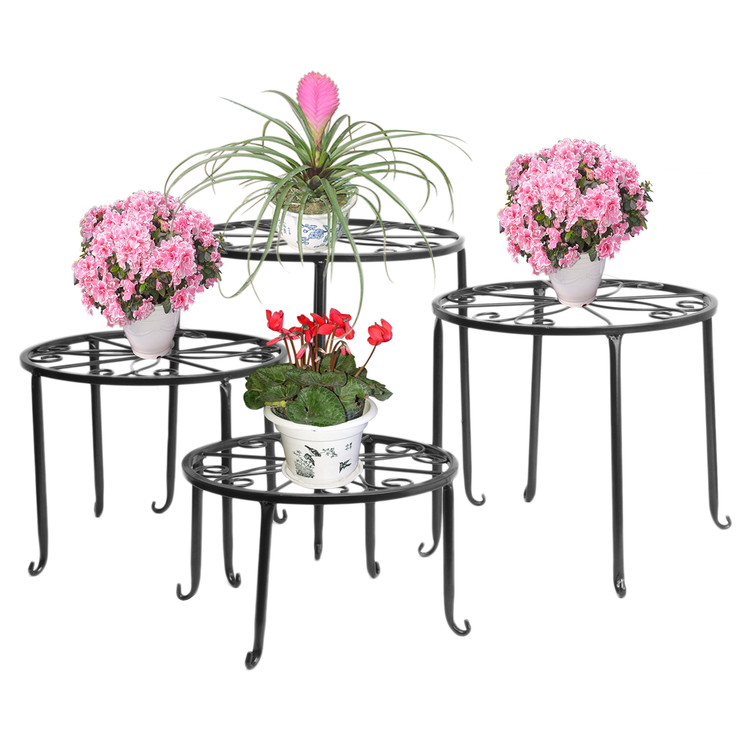 Dazone Metal 4 in 1 Potted Plant Stand Floor Flower Pot Rack/Round Iron Plant Stands, Scroll Pattern