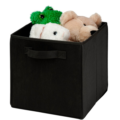 Honey-Can-Do Collapsible Storage Cube, Non-Woven, Black, 4pk