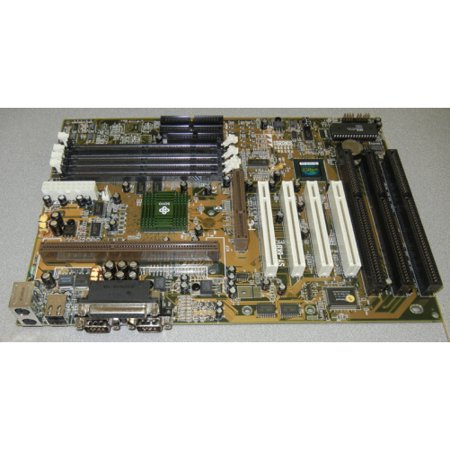 SoyoSY-6KBESlot 1 Pentium II motherboard with 3ISA slots, 4PCI, 1 AGP. Intel 82440LX chipset. 4DIMM sockets, 2 USB, 2 x 9 pin serial ports, 1 printer port. ATX form factor.