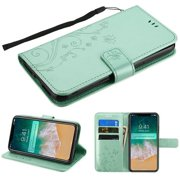 Apple iPhone Xs Max (6.5 Inch) - Phone Case Pattern Flip Wallet Case Cover Stand Pouch Book Magnetic Buckle with Hand Strap 3D Butterfly Flower - Teal Green Phone Case for Apple iPhone Xs Max