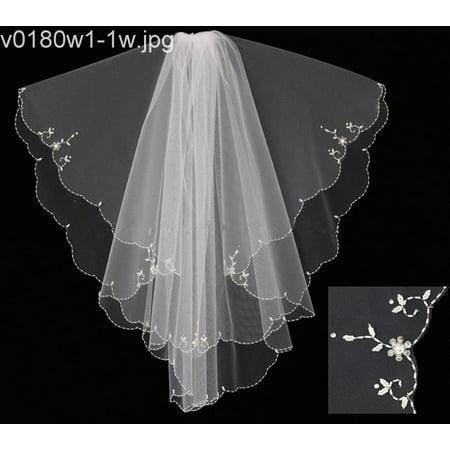 Women White Beading Communion Bridal Wedding Veil