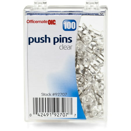 (4 Pack) Officemate Push Pins in Reusable Box, Clear, Box of 100 (92707) Bee Push Pins