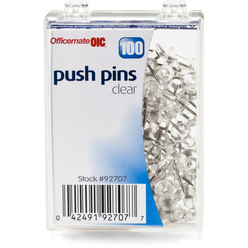 (4 Pack) Officemate Push Pins in Reusable Box, Clear, Box of 100 (92707)