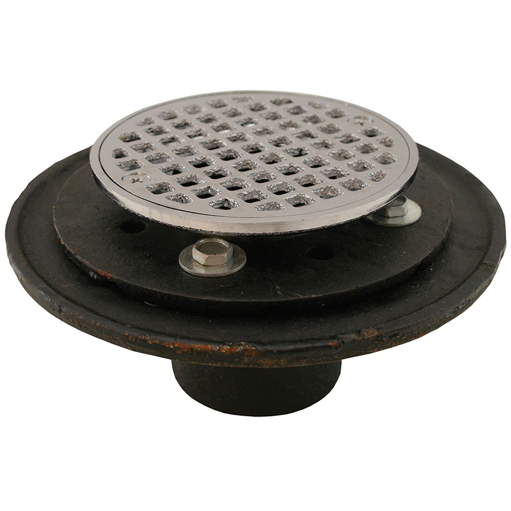 """2"""" No Hub Shower/Floor Drain with 6-1/2"""" Pan and 4"""" Chrome Plated Cast Round Str"""
