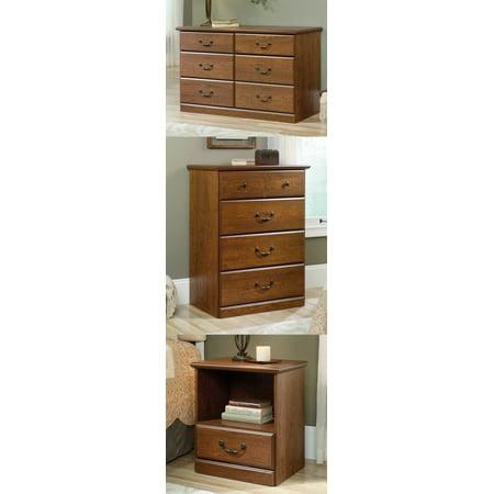Sauder Orchard Hills Milled Cherry Bedroom Set Dresser Chest Nightstand