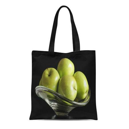 LADDKE Canvas Tote Bag Green Fruit Apples in Glass Bowl Fresh Catering Cuisine Reusable Handbag Shoulder Grocery Shopping (Catering Bag)