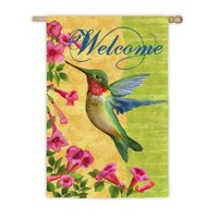 Patterned Welcome Hummingbird Garden Flag