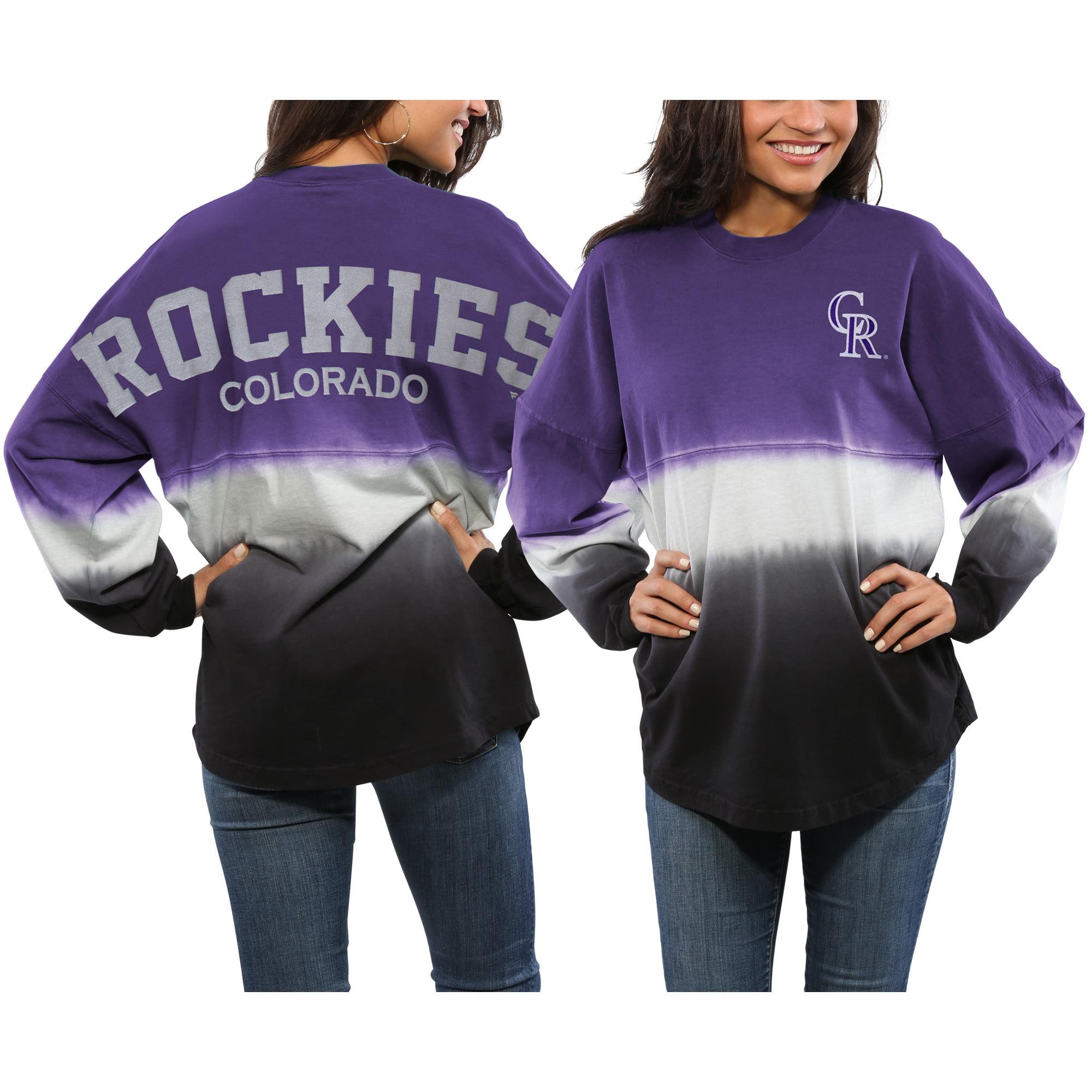 Colorado Rockies Women's Oversized Long Sleeve Ombre Spirit Jersey T-Shirt - Purple