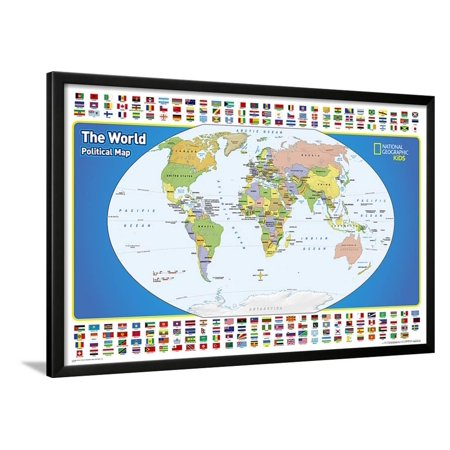 National Geographic Kids World Political Map Lamina Framed Poster Wall Art  - 38x26