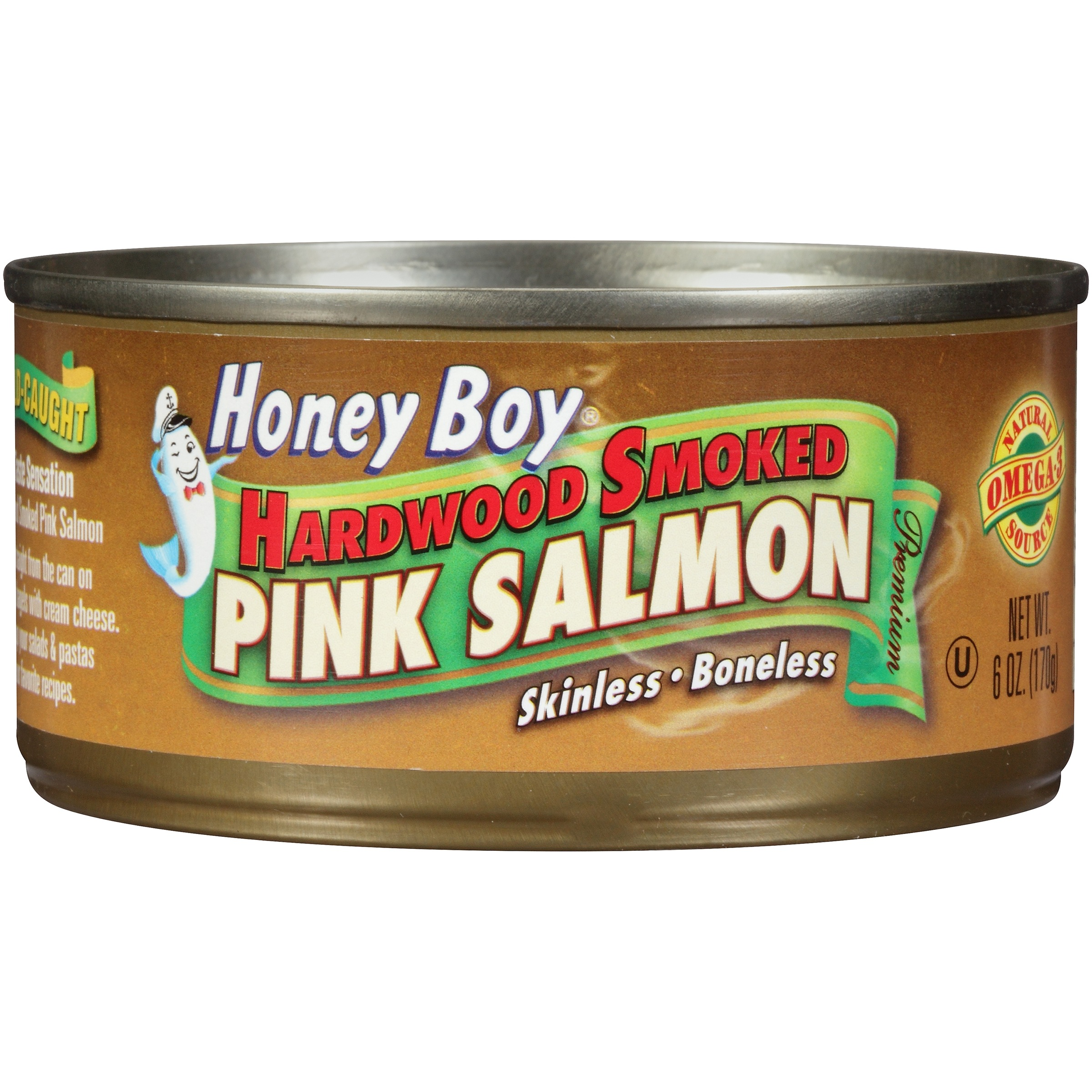 (2 Pack) Honey Boy® Hardwood Smoked Pink Salmon 6 oz. Can