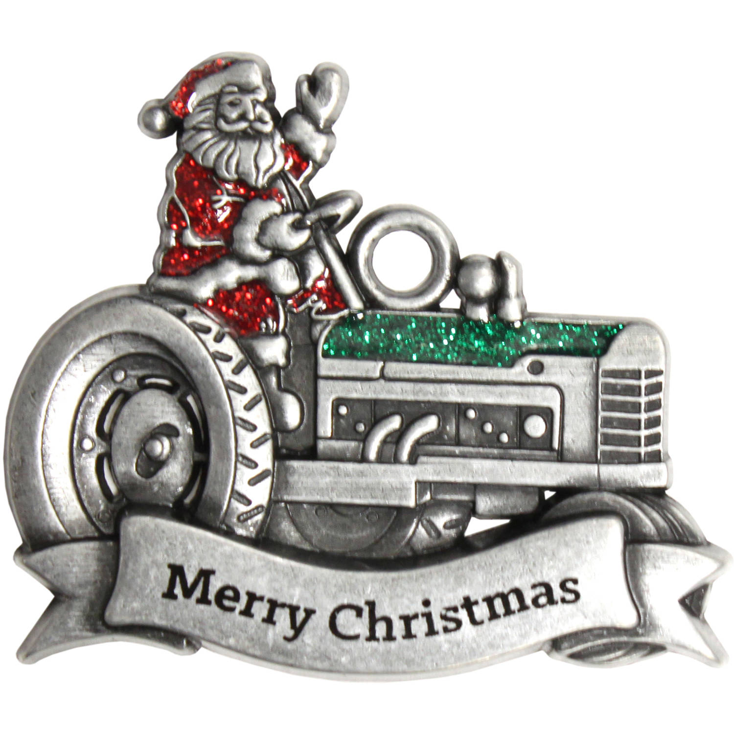 Pewter Santa Tractor Ornament