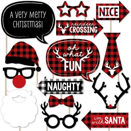 Prancing Plaid Holiday - Buffalo Plaid Christmas Photo Booth Props Kit - 20 Count](Christmas Photo Booth Ideas)