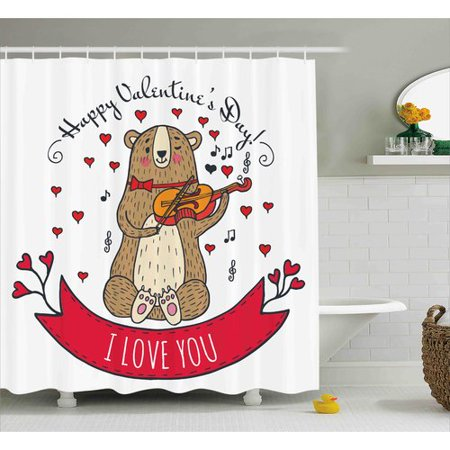 The Holiday Aisle Valentines Day Teddy Bear With Violin Made Love Romantic Music Notes Heart I You Single Shower Curtain