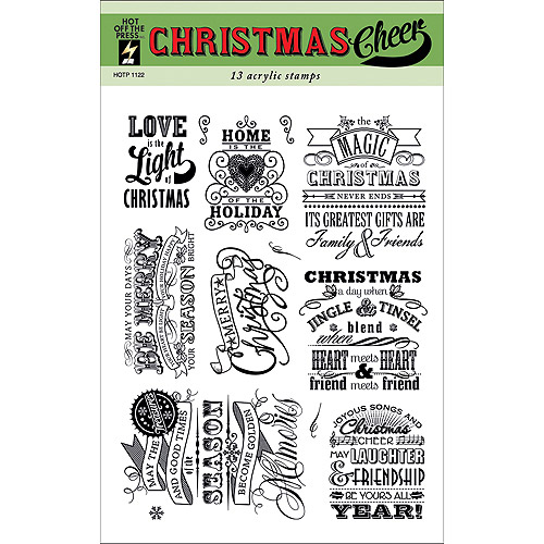 "Hot Off The Press Acrylic Stamps 6""X8"" Sheet-Christmas Cheer"