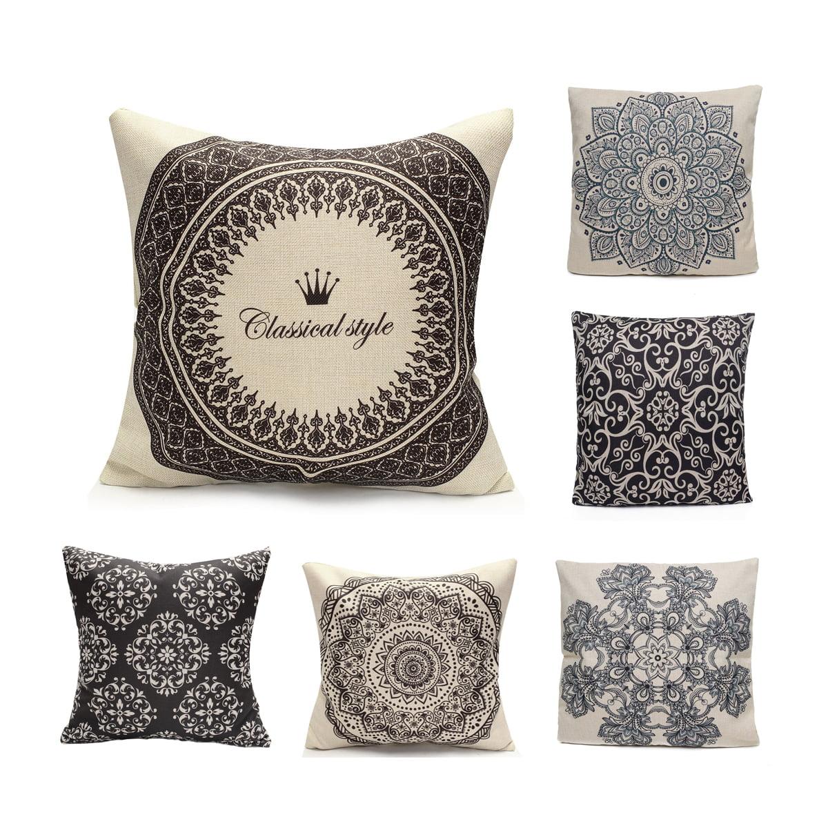 Vintage Geometric Flower Throw Pillow Cushion Cover 18''x18'' Cotton Linen  PillowCase Standard Decorative Pillowslip Pillow Protector Cover Case for  Sofa ...