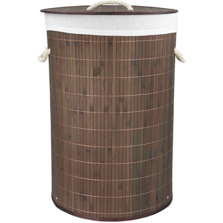 Home Basics Round Foldable Bamboo Hamper, Brown ()
