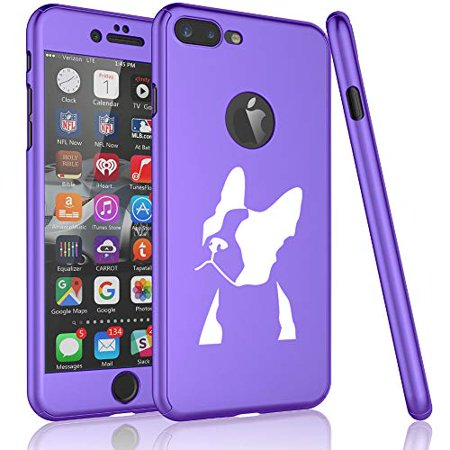 360° Full Body Thin Slim Hard Case Cover + Tempered Glass Screen Protector for Apple iPhone Boston Terrier Face (Purple, for Apple iPhone 7 / iPhone (Glasses For Slim Face)
