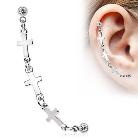 Tragus 316L Surgical Steel Chained Cross Cartilage Earring 16g 1pc ()