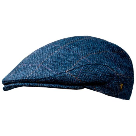 Men's Donegal Tweed Flat Cap - Traditional style, Modern fashion item - Blue, Large