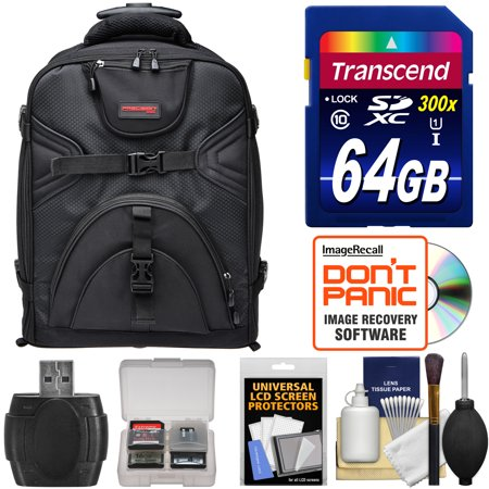 Precision Design PD-BPT DSLR Camera Backpack with Wheels with 64GB Card + Card Reader + Accessory Kit