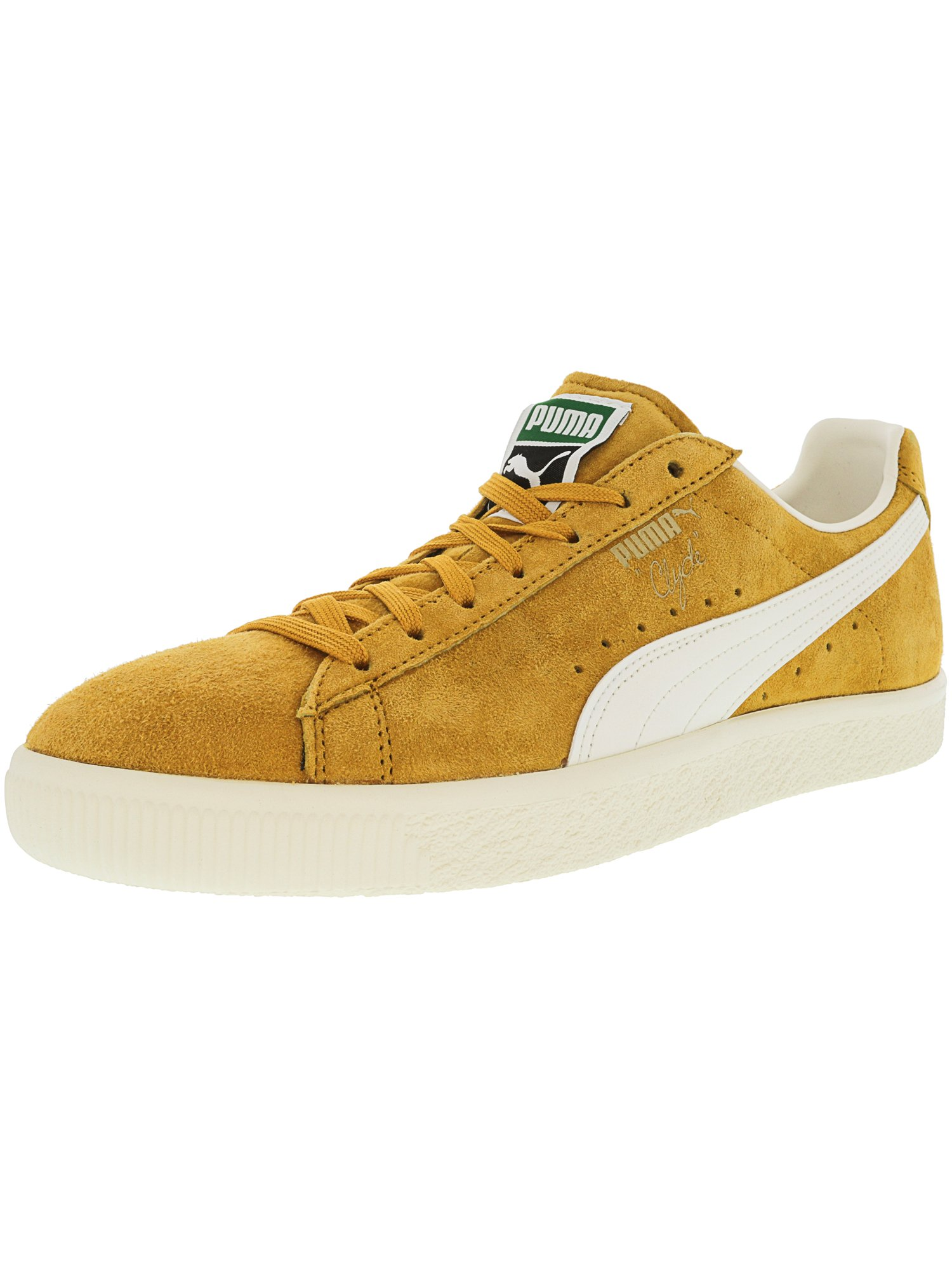 Puma Men's Clyde Premium Artisans Gold / Whisper White Ankle-High Suede Fashion Sneaker - 11M