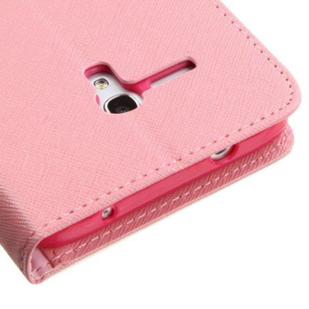 Insten Flip Leather Wallet Case Cover with Stand & Card slot For Alcatel One Touch Fierce XL - Pink/Red - image 2 de 5