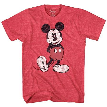 Disney Mickey Mouse T Shirt Distressed Character Pose Adult Cartoon Tee](Adult Disney Cartoon)