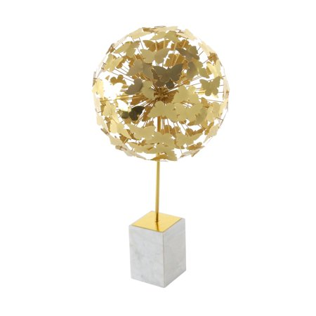 Decmode Contemporary 24 inch gold iron butterfly ball sculpture with white marble base, Gold