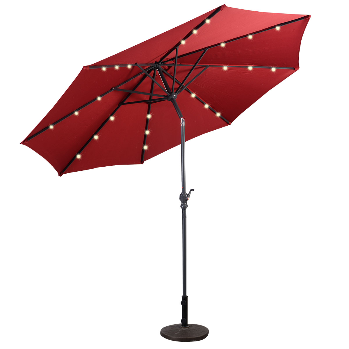 9' Deluxe Solar Powered LED Lighted Patio Umbrella, Tan