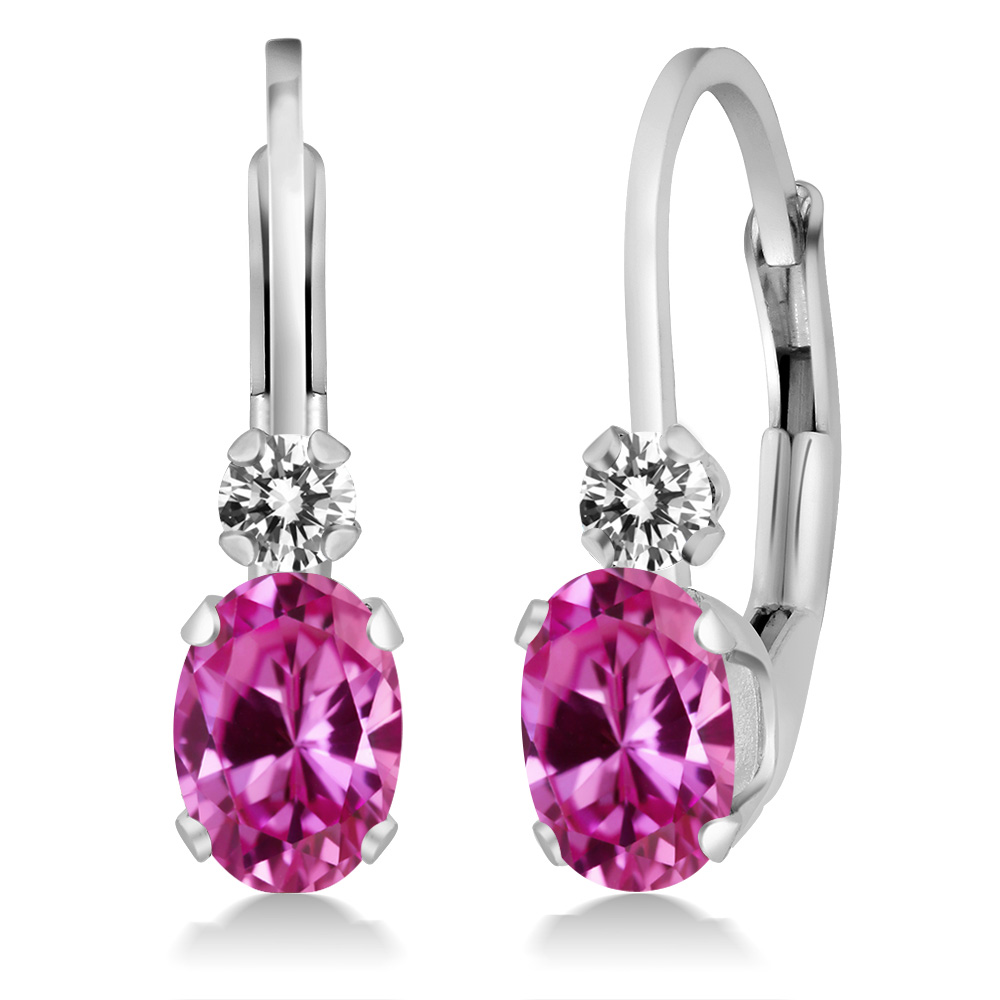 1.27 Ct Oval Pink Created Sapphire White Diamond 14K White Gold Earrings by