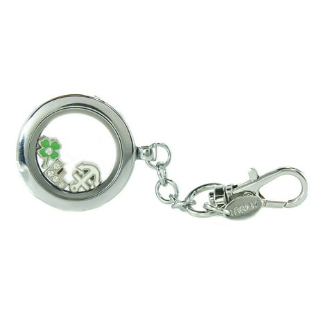 BG247 Personalized Floating Locket Key Chain with Lobster Claw 4 Mini Charm Choices(Silver Circle)