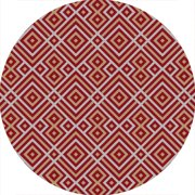 3' Meso Mayan Classic Gold and Rose Red Round Hand Hooked Area Throw Rug