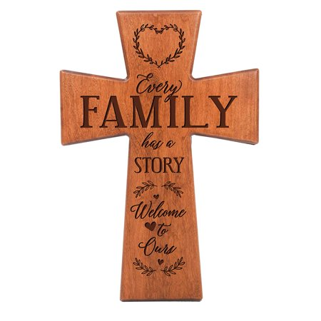 LifeSong Milestones Engraved Inspirational Wood Wall Cross Décor - Every Family Has A Story (Cherry 12x17)