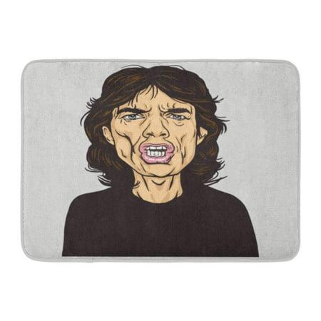 KDAGR Rock Mick Jagger Portrait Caricature January 14 Star Band British 1964 Doormat Floor Rug Bath Mat 23.6x15.7