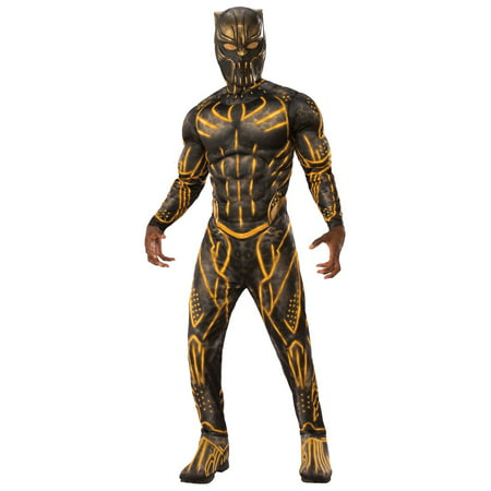 Marvel Black Panther Movie Mens Deluxe Erik Killmonger Battle Suit Halloween Costume