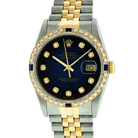 Pre-Owned Rolex Mens Datejust Steel & 18K Yellow Gold Blue Vignette Diamond & Sapphire Watch 16013 Jubilee