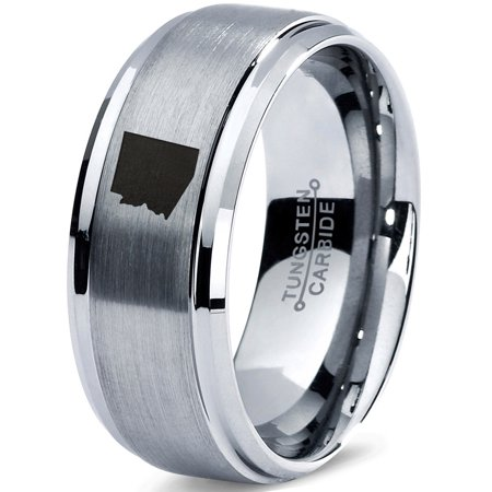 Tungsten Arizona The Grand Canyon State Band Ring 8mm Men Women Comfort Fit Gray Step Bevel Edge Brushed Polished