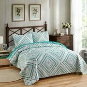 "3 Piece Quilt Set,Queen Size 88""x92"",Soft Microfiber Bedspread ,Green Diamond Printed"