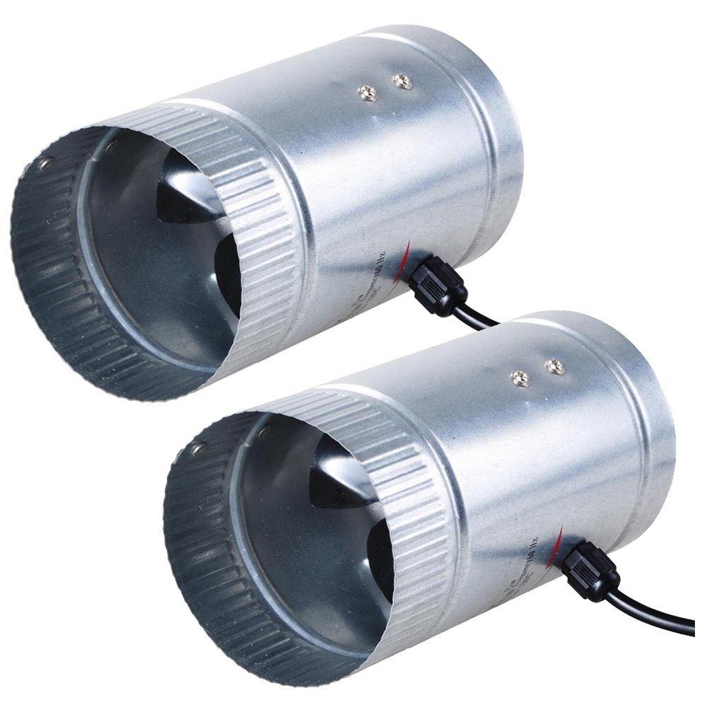"GHP 2-Pack Aluminum Fan Blade Galvanized Steel 4"" Diameter Exhaust Vent Mini Blower"