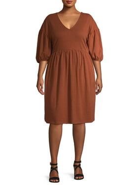 Terra & Sky Women's Plus Size V-Neck Puff Sleeve Dress